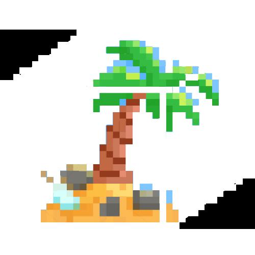 Das Kreative Strandbüro, Galskubus mit kleiner Insel und Palme, gepixelt von Norbert Thomas, Orange Council.