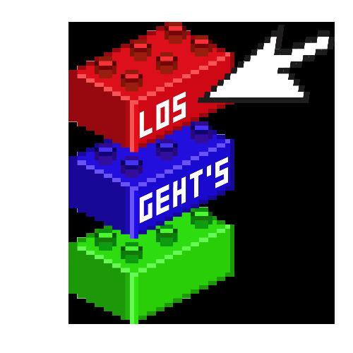 LEGO Blöcke mit der Auffschrift, lost geht's. Rot Blau Grün. Gebaut druch Norbert Thomas von Orange Council.